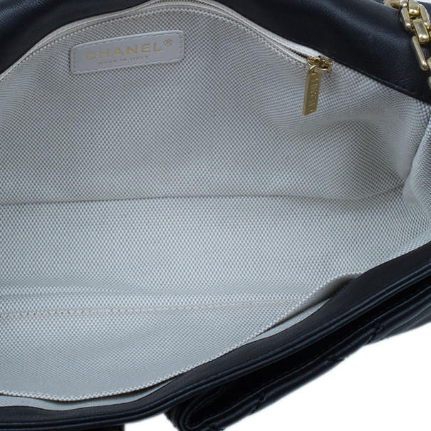 Chanel Black Quilted Lambskin Two Pocket Flap Shoulder Bag