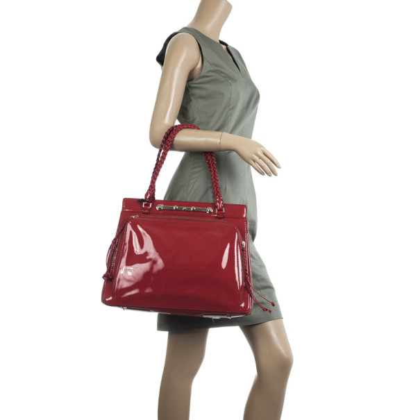 Valentino Garavani Demetra Red Patent Leather Bag