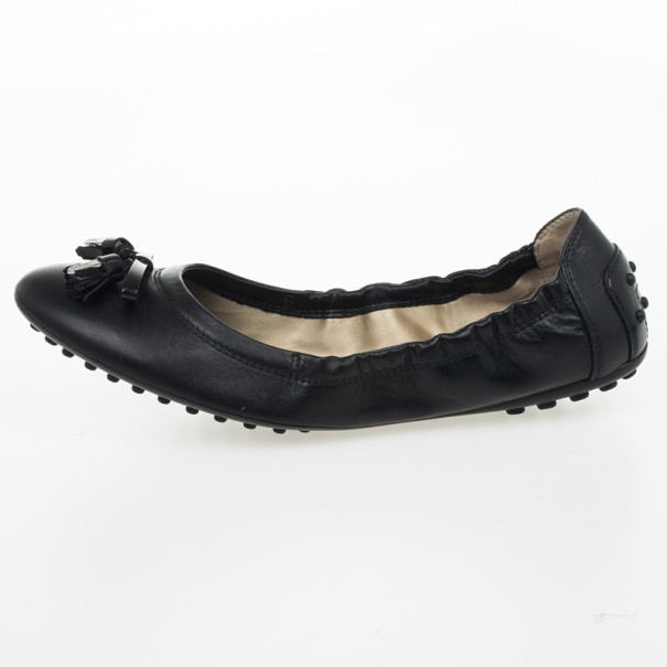 Tod's Black Leather Tassel Bow Ballet Flats Size 37.5