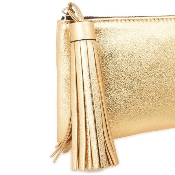 Carolina Herrera Gold Leather Clutch with Tassel