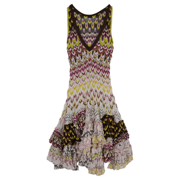 Missoni Ruffled Crochet Knit Dress M