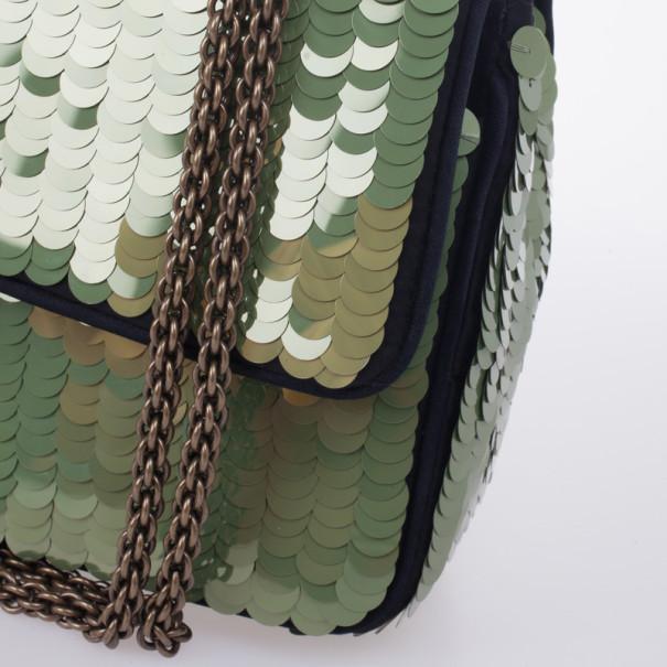 Chanel Green Paillette Flap Bag