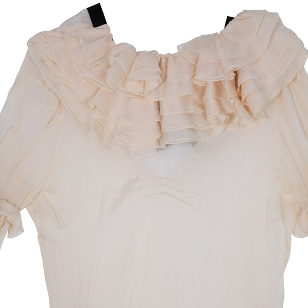 D and G Light Pink Ruffled Blouse S