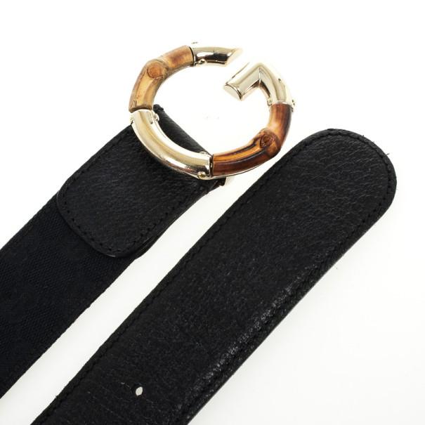 Gucci Black Guccissima Canvas G Bamboo Buckle Belt