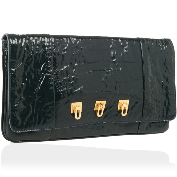 Chloe Dark Green Patent Lucy Pleated Clutch