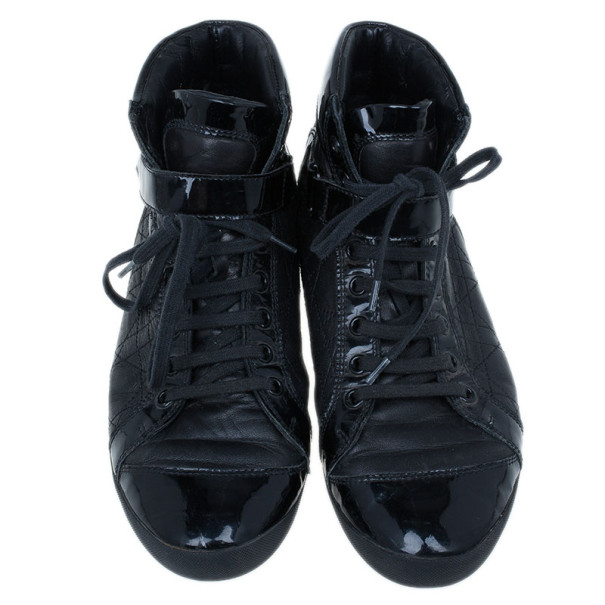 Dior Black Leather High Top Sneakers Size 38.5