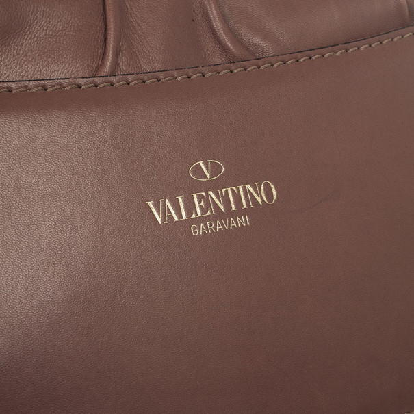 Valentino Brown Bow Leather Flap Bag