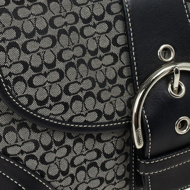 Coach Black Signature Soho Buckle Shoulder Bag