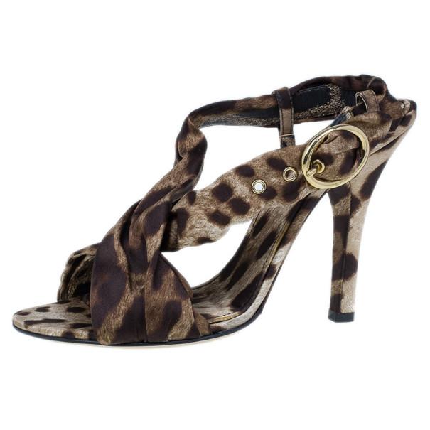 Dolce and Gabbana Leopard Print Silk Slingback Sandals Size 39