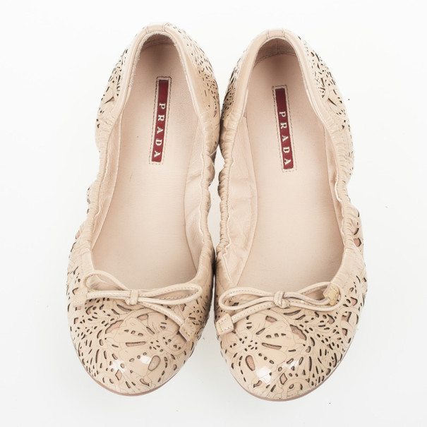 Prada Sport Beige Floral Laser Cut Patent Leather Bow Ballet Flats Size 38.5