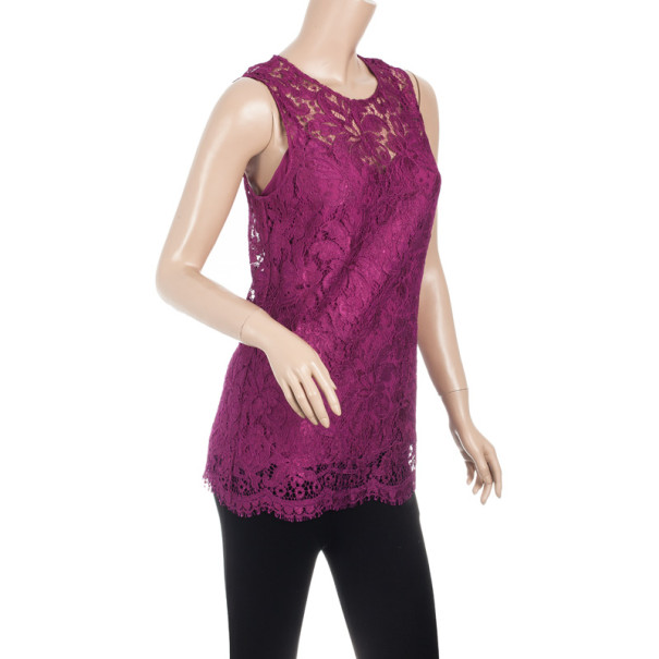 Dolce and Gabbana Fuschia Lace Top M