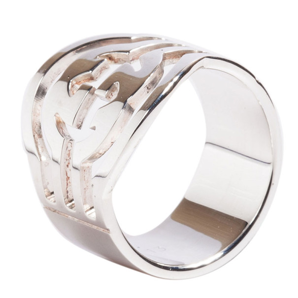 Gucci Silver GG Ring Size 53