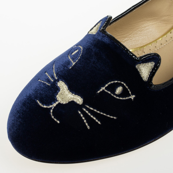 Charlotte Olympia Kitty Embroidered Velvet Flats Size 39.5