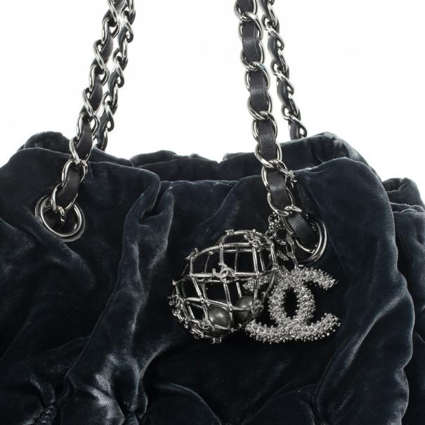 Chanel Grey Velvet Birdcage Shoulder Bag