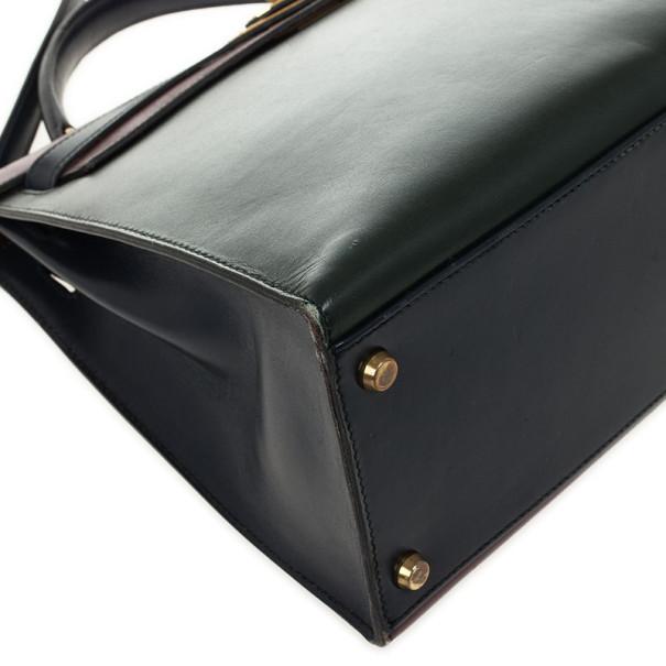 Hermes Vintage Tricolor Box Calf Kelly 32