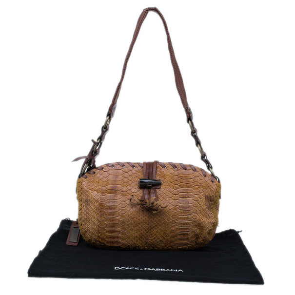 Dolce and Gabbana Brown Python Shoulder Bag
