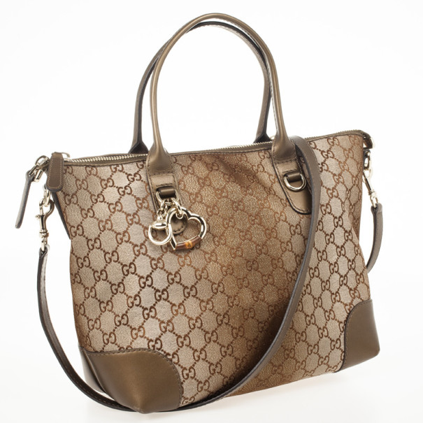 Gucci Brown Heart Bit Small Tote With Charms