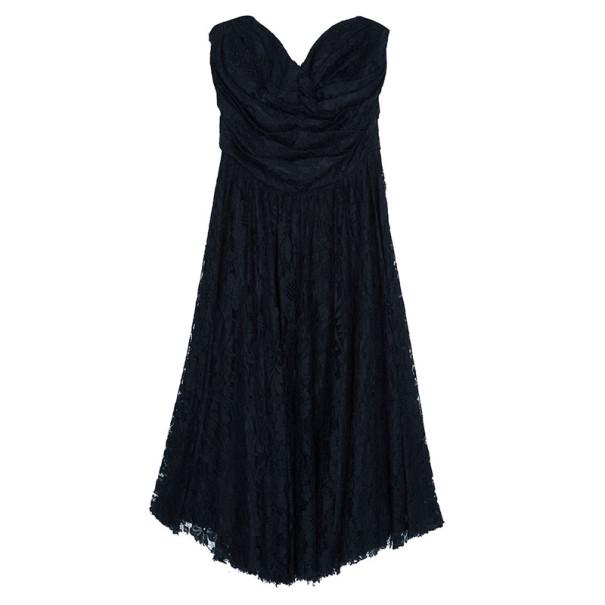 Dolce and Gabbana Black Strapless Lace Dress M