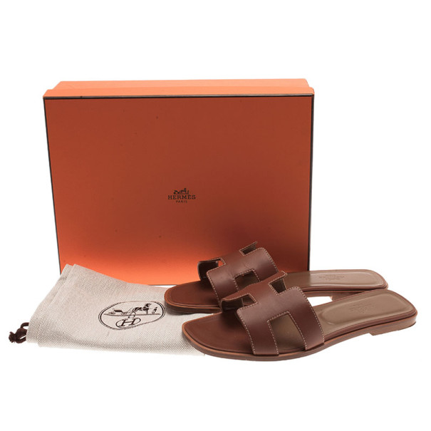 Hermes Brown Leather Oran Box Sandals Size 39