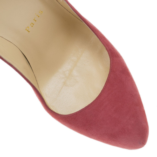 Christian Louboutin Pink Suede Daffodile Platform Pumps Size 38