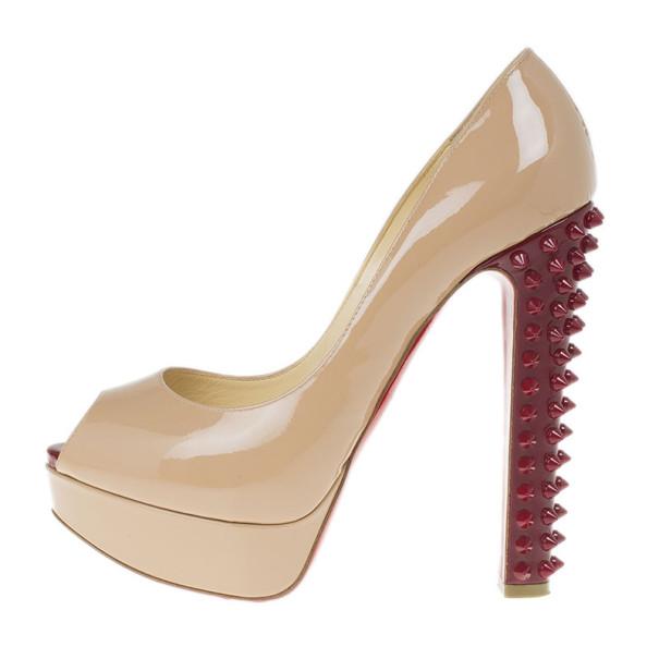 Christian Louboutin Nude Patent Taclou Peep Toe Platform Pumps Size 38