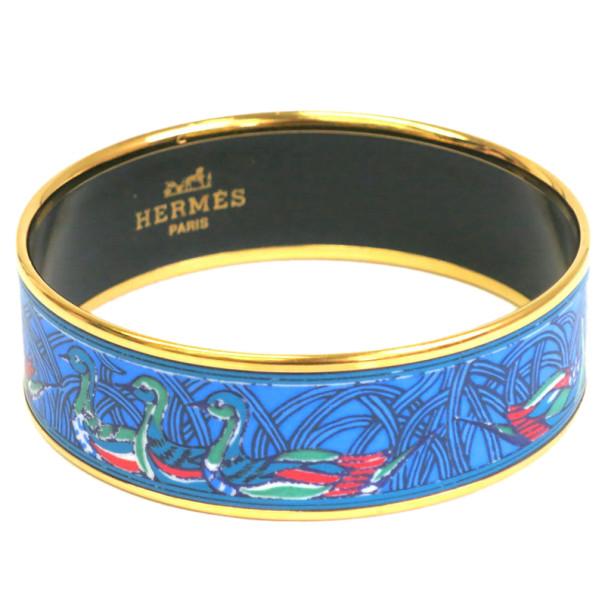 Hermes Wide Printed Enamel Gold-Plated Duck Design Bracelet 20CM