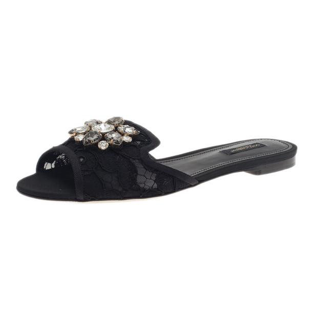 Dolce and Gabbana Black Lace Sofia Embellished Slides Size 39.5