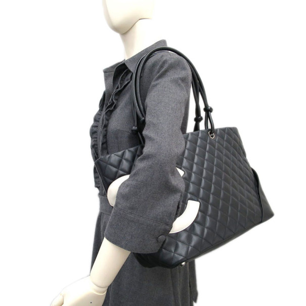 Chanel Black and White Lambskin Cambon Tote