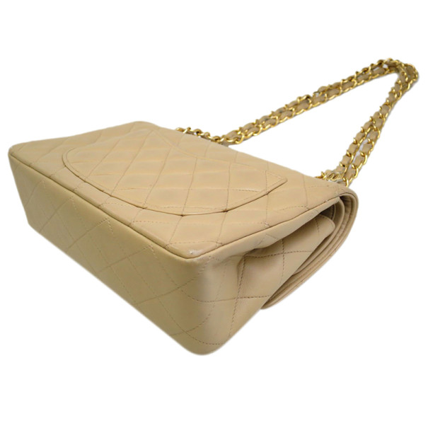 Chanel Beige Lambskin Double Flap Bag