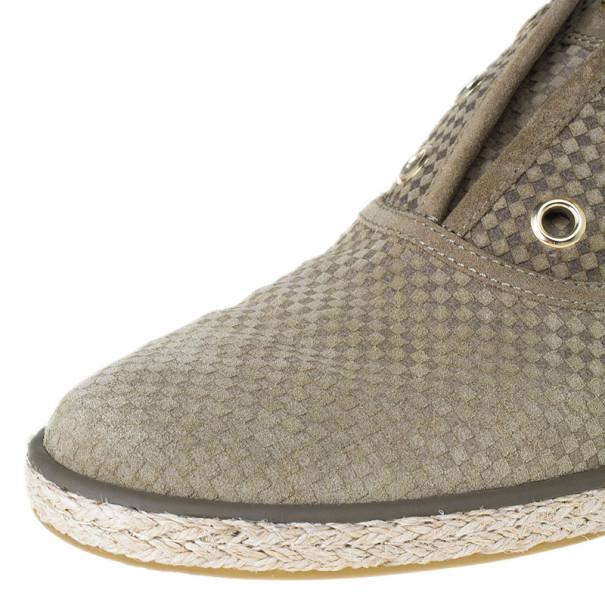 Louis Vuitton Green Suede Petit Damier Espadrilles Sneakers Size 39.5