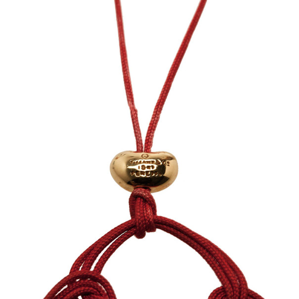 Tiffany & Co. Vintage Elsa Peretti Quadrifoglio Red Silk and 18K Yellow Gold Pendant Necklace