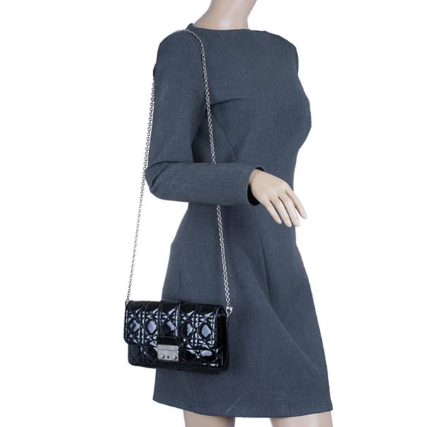 Dior Black Patent Leather Miss Dior Promenade Pouch
