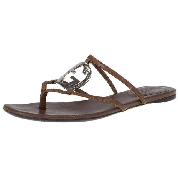 Gucci Brown Leather GG Cage Flat Thong Sandals Size 37.5