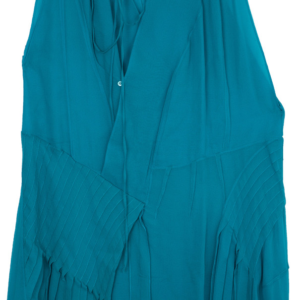 Chloe Turquoise Pleated Dress M