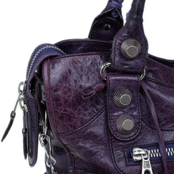 Balenciaga Purple Leather Giant City