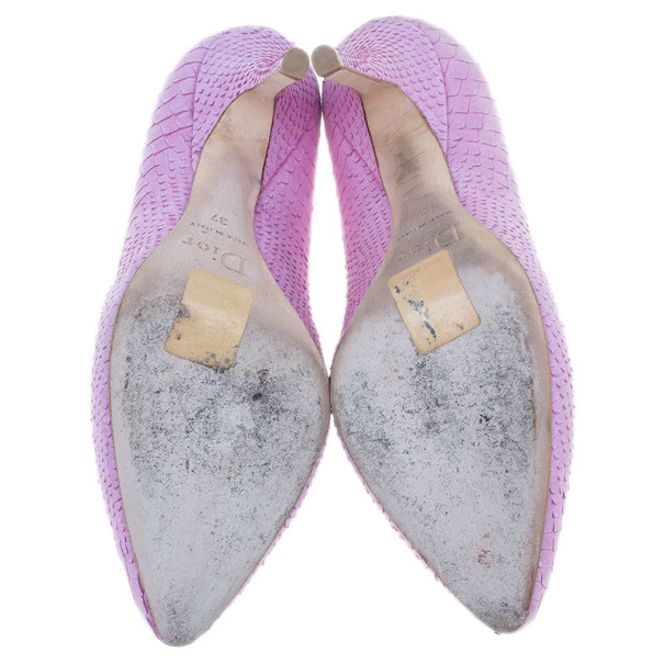 Dior Pink Python Embossed Leather Baisers Voles Pumps Size 37