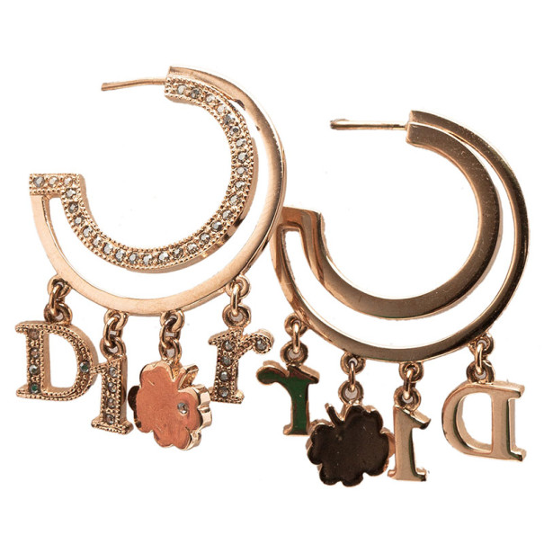 Dior Crystal Hoop Lucky Charm Crystal Earrings