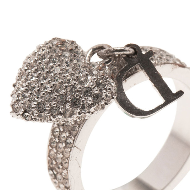 Dior Crystal Heart Charm Crystal Ring Size 50.5