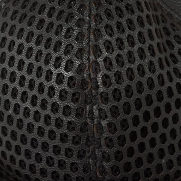 Emporio Armani Black Leather Cutout Baseball Cap Size M