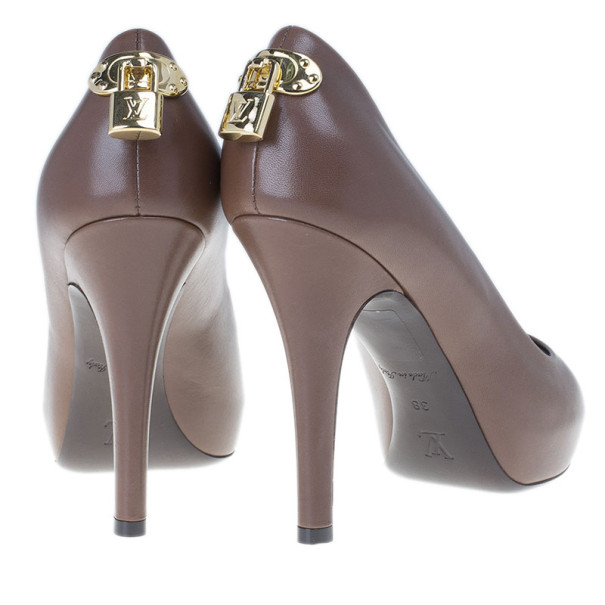 Louis Vuitton Brown Leather Oh Really! Peep Toe Pump Size 38