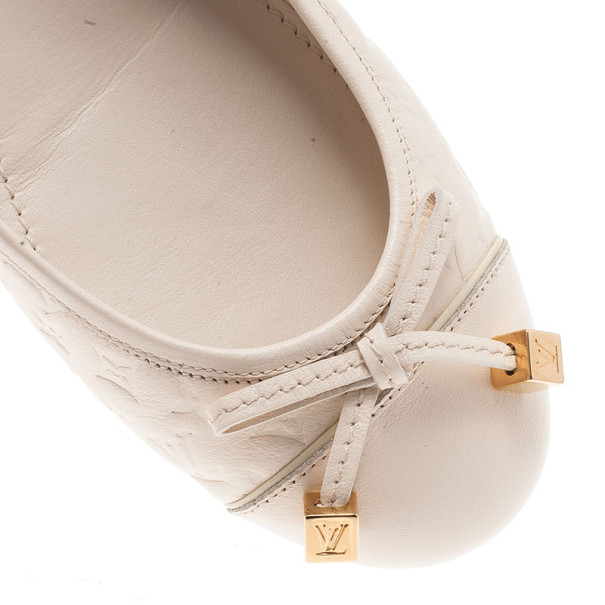 Louis Vuitton White Monogram Cap Toe Ballet Flats Size 38