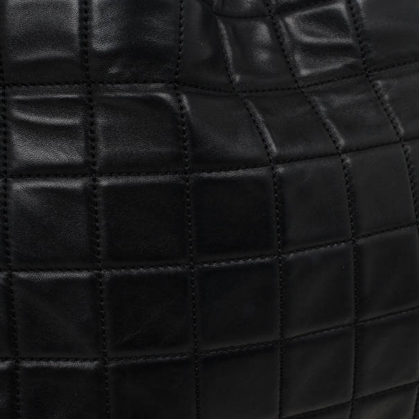 Chanel Black Chocolate Bar Quilted Foldover Clutch