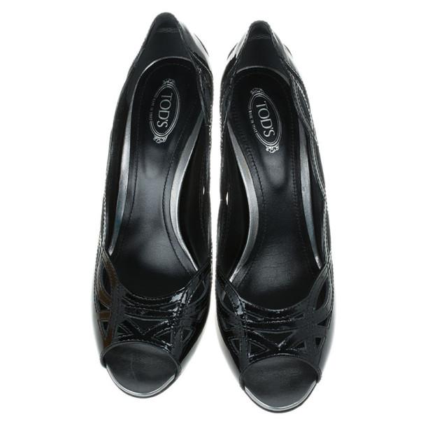 Tod's Black Patent Cutout Peep Toe Pumps Size 39