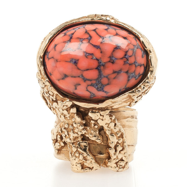 Saint Laurent Coral Arty Oval Shaped Ring Size 55