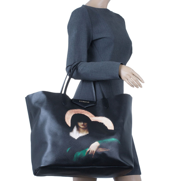 Givenchy Black Canvas Madonna Print Shopper
