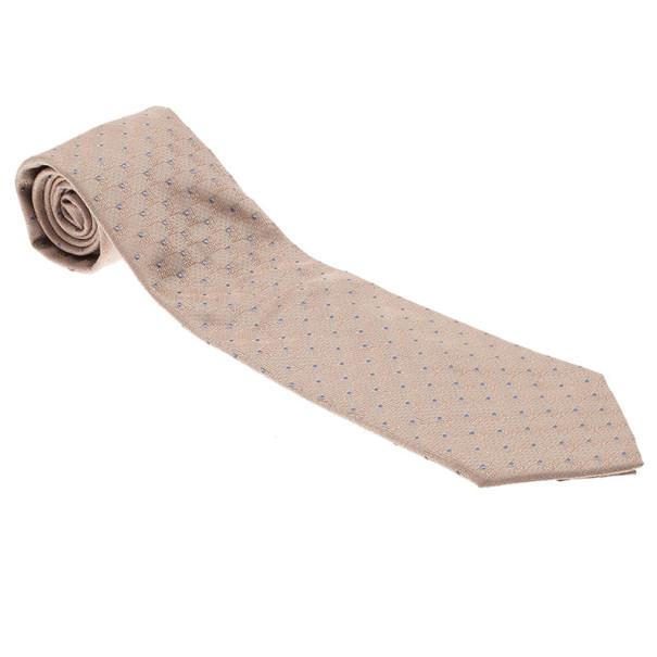 Louis Vuitton Beige Polka Dot Silk Tie