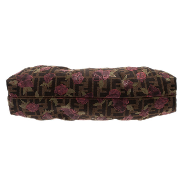Fendi Tobacco Zucca Canvas Chef Rose Print Medium Bag