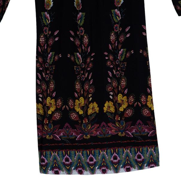 Roberto Cavalli Black Stretch Floral Dress S