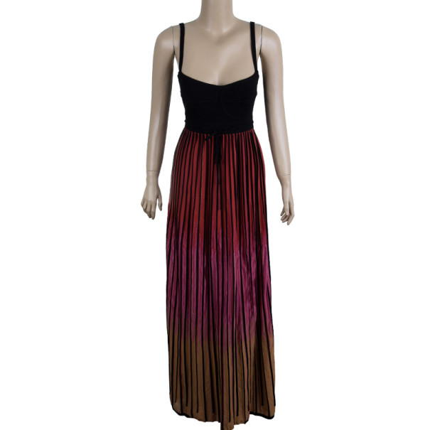 M Missoni Red Ombre Ribbed Knit Maxi Dress M