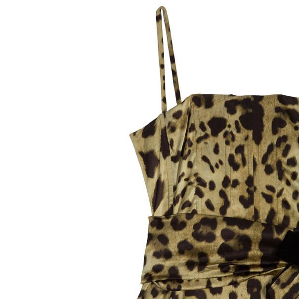Dolce and Gabbana Silk Leopard Print Gown L